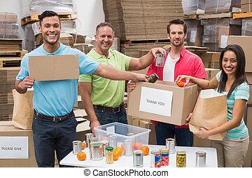 労働者, パッキング, 寄付, 箱, 倉庫
