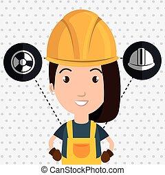 労働者, ヘルメット, 女, 手袋