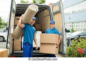 労働者, ボックスを伴う, ボール紙, カーペット