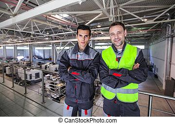 労働者, 中に, 工場