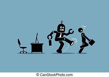 労働者, 人間, 従業員, ロボット, 離れて, 仕事, オフィス。, 彼の, 蹴り, コンピュータ