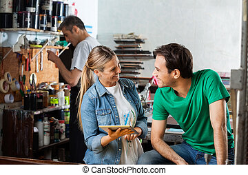 労働者, 保有物, デジタルタブレット, 間, ∥見る∥, スーパーバイザー