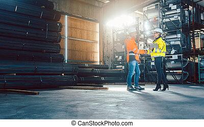 労働者, 倉庫, 握手, 顧客
