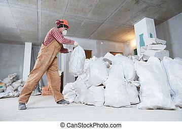労働者, 収集, 建設, 無駄, 中に, 袋