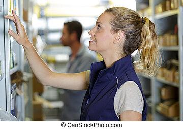 労働者, 女性, 倉庫, 肖像画