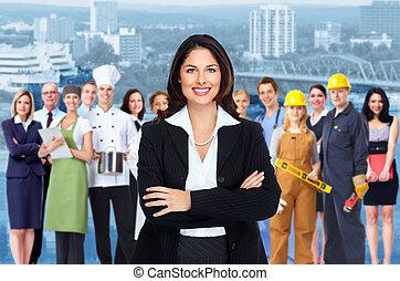 労働者, 女, グループ, 人々。, ビジネス