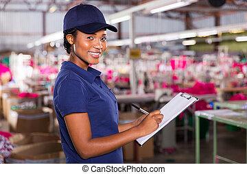 労働者, 工場, 若い, 織物, メスのアフリカ人