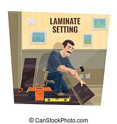 労働者, 床材, ベクトル, サービス, laminate