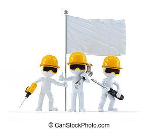 労働者, 建設, グループ, 旗