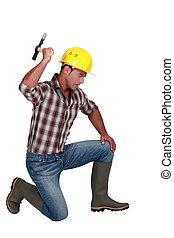 労働者, 建設, ハンマー