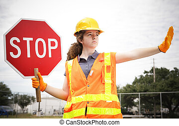 労働者, 建設, 交通, 指示する, 女性