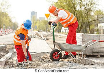 労働者, 建設, 堀る, 道