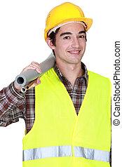 労働者, 建設, 届く, チューブ