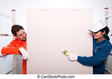 労働者, 建設, 絵