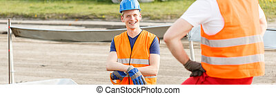労働者, 微笑, 友人