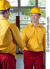 労働者, 握手, 工場