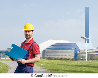 労働者, 服を着せられる, 中に, 安全, オーバーオール, 外, a, 工場