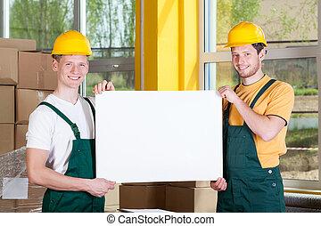 労働者, 板, 保有物, ブランク, 倉庫, 白