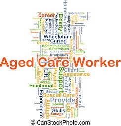 労働者, 概念, 年を取った, 背景, 心配