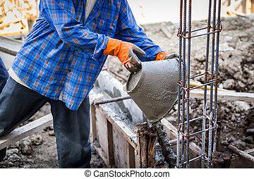 労働者, 混合, セメント, モルタル, プラスター, ∥ために∥, 建設
