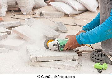 労働者, 灰色, 舗装, 切断, タイル, 建設