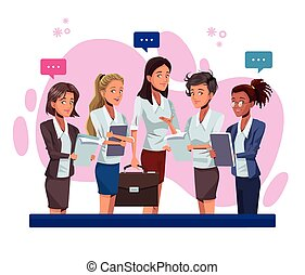 労働者, 特徴, 女性実業家, 若い, 話し