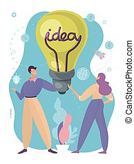 労働者, 現代, ビジネス, スタイル, lightbulb, ベクトル, 碑文, 漫画, デザイン, 持たれた, コミュニケーション, ∥間に∥, brainchildren, illustration., 教育, 女, 人々, 人, 創造的, 考え, 概念