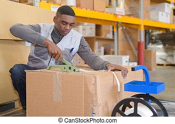 労働者, 箱, 倉庫