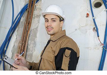 労働者, 肖像画, クリップボード, 保有物