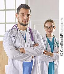 労働者, 肖像画, グループ, 病院, 医学