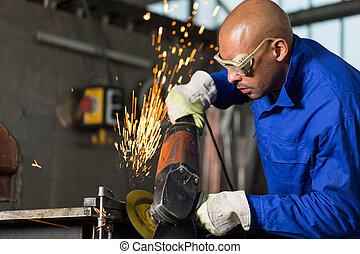 労働者, 角度, 金属, こする, gringer