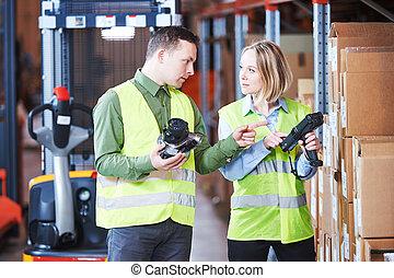 労働者, barcode, system., 走査器, サービス, 管理, 倉庫