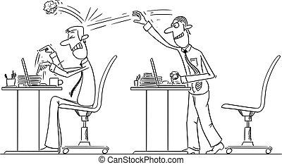 労働者, colleague., ベクトル, ペーパー, 投げる, 漫画, work., ビジネスマン, 漫画, ボール, ∥あるいは∥, しわくちゃになった, いじめ, オフィス