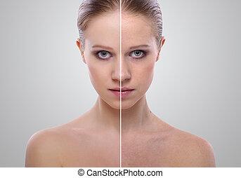 効果, の, 治癒, の, 皮膚, 美しさ, 若い女性, before.and.after, ∥, プロシージャ, 上に, a, グレーのバックグラウンド