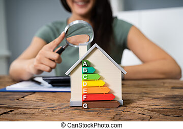効率的である, エネルギー, 家, 女, 計算