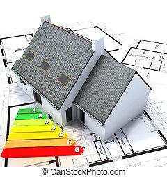 効率的である, 家, エネルギー, 建設