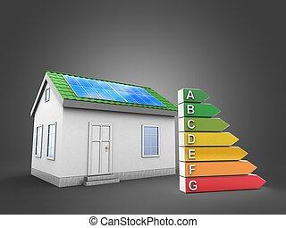 効率的である, 家, 緑, ランク, 3d