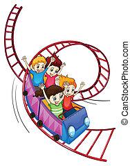 勇士, 子供, 乗馬, 中に, a, ローラーコースター, 乗車