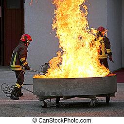 勇士, 消すこと, 火, 消防士, テスト, の間