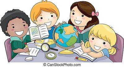 勉強しなさい, 子供, グループ, 地理