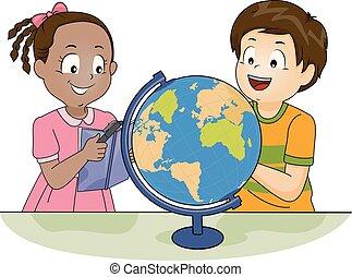 勉強しなさい, 子供, 地球, イラスト