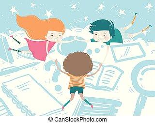 勉強しなさい, 浮き, 雲, イラスト, 子供