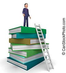 勉強, はしご, ∥示す∥, 本, 答え, ビジネスマン
