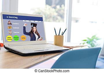 勉強, オンラインで, デスクトップ, ラップトップ