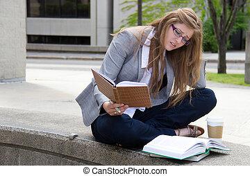 勉強, キャンパス, 学生, 強調された