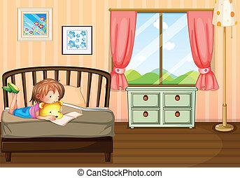勉強, 中, 部屋, 彼女, 子供