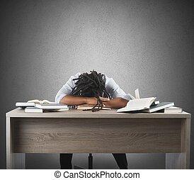勉強, 人, 疲れた