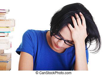 勉強, 困難, 女子学生, 悲しい