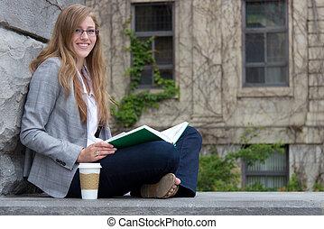 勉強, 大学, 外, 学生, キャンパス
