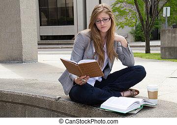 勉強, 失望させられた, キャンパス, 学生